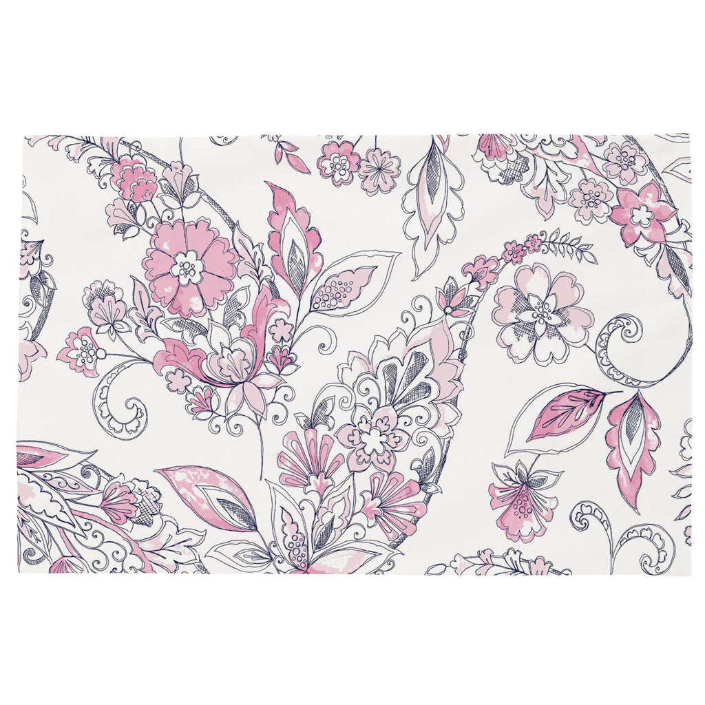 Product image for Pink and Navy Sketchbook Floral Toddler Pillow Case