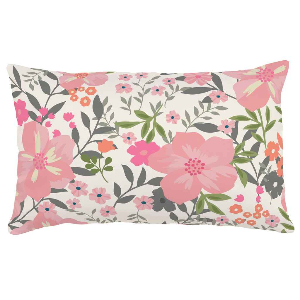 Product image for Pink and Orange Floral Tropic Lumbar Pillow
