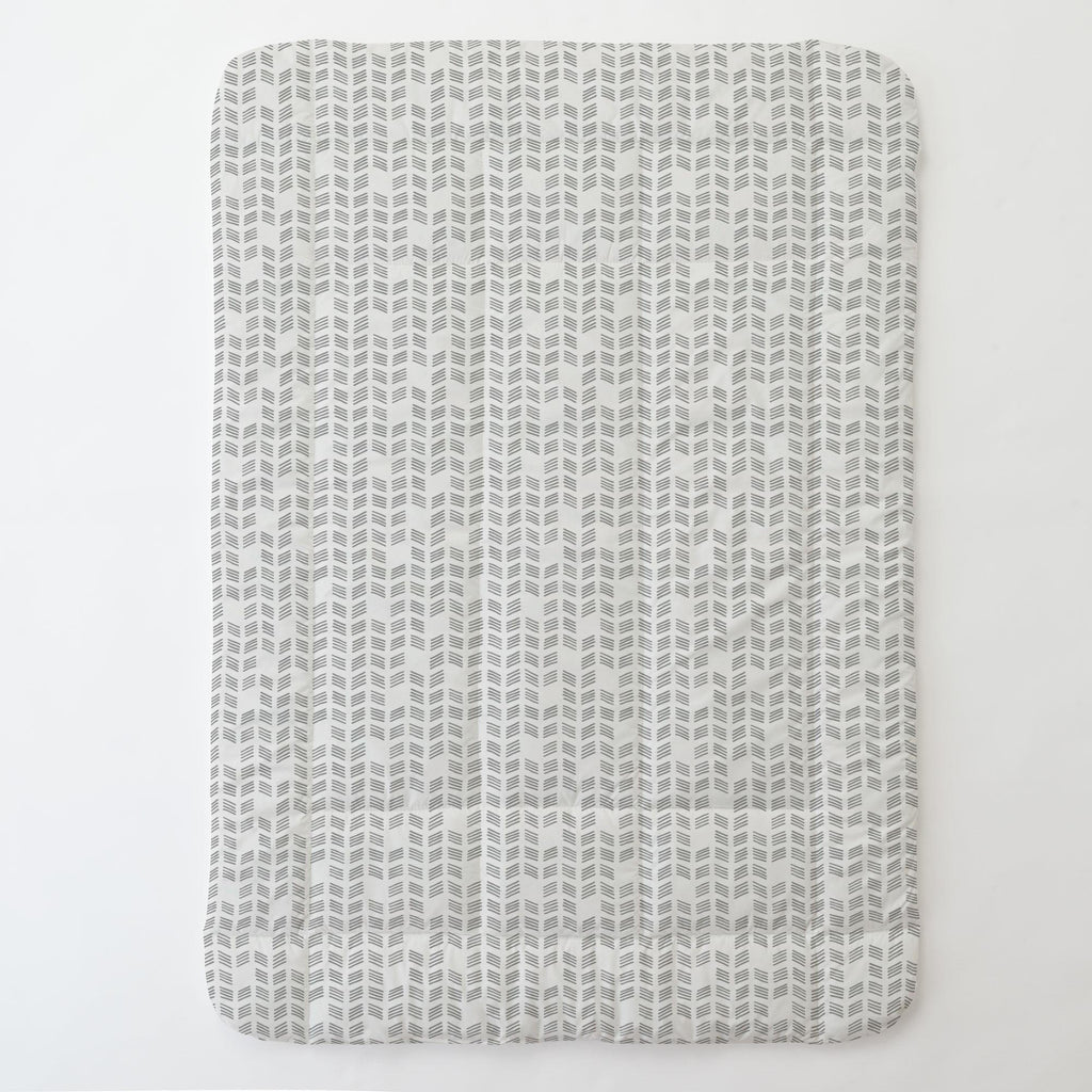 Product image for Silver Gray Tribal Herringbone Toddler Comforter