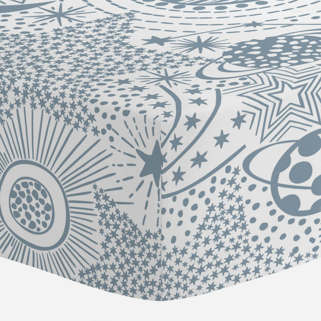 Product image for Steel Blue Galaxy Crib Sheet