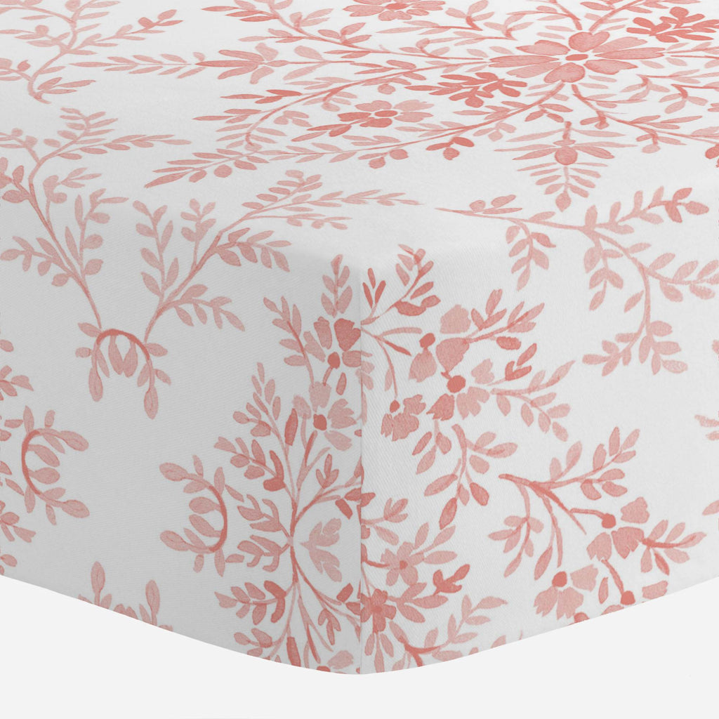 Product image for Light Coral Floral Damask Crib Sheet