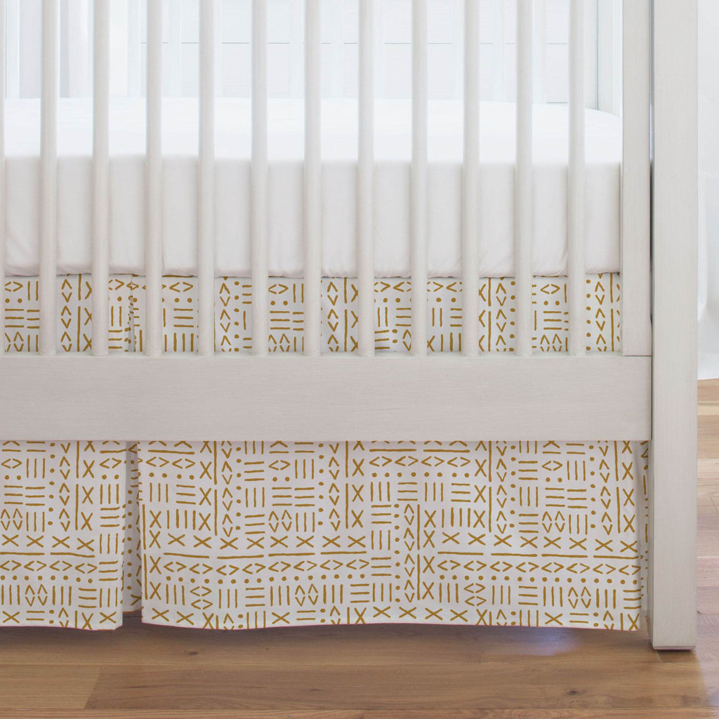 Product image for Mustard Mudcloth Crib Skirt Single-Pleat