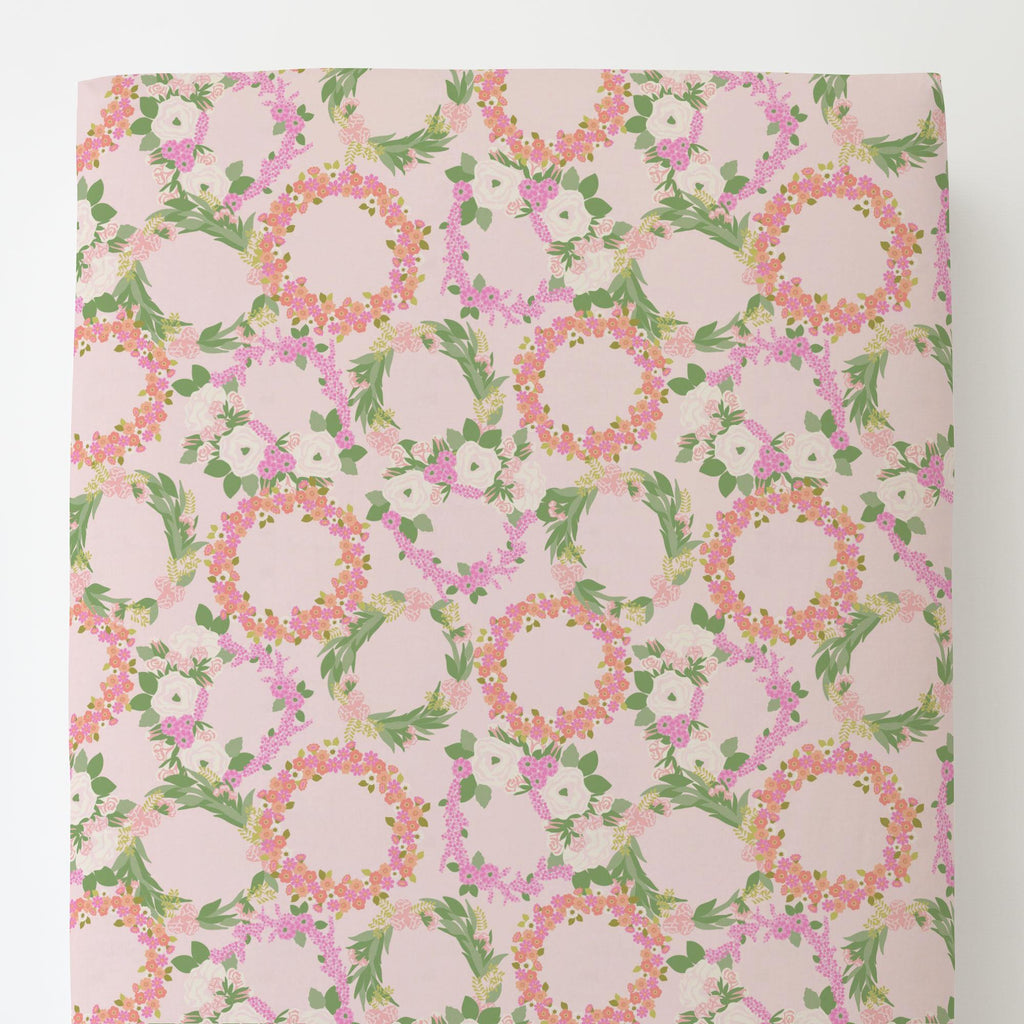 Product image for Pink and Coral Floral Wreath Toddler Sheet Bottom Fitted