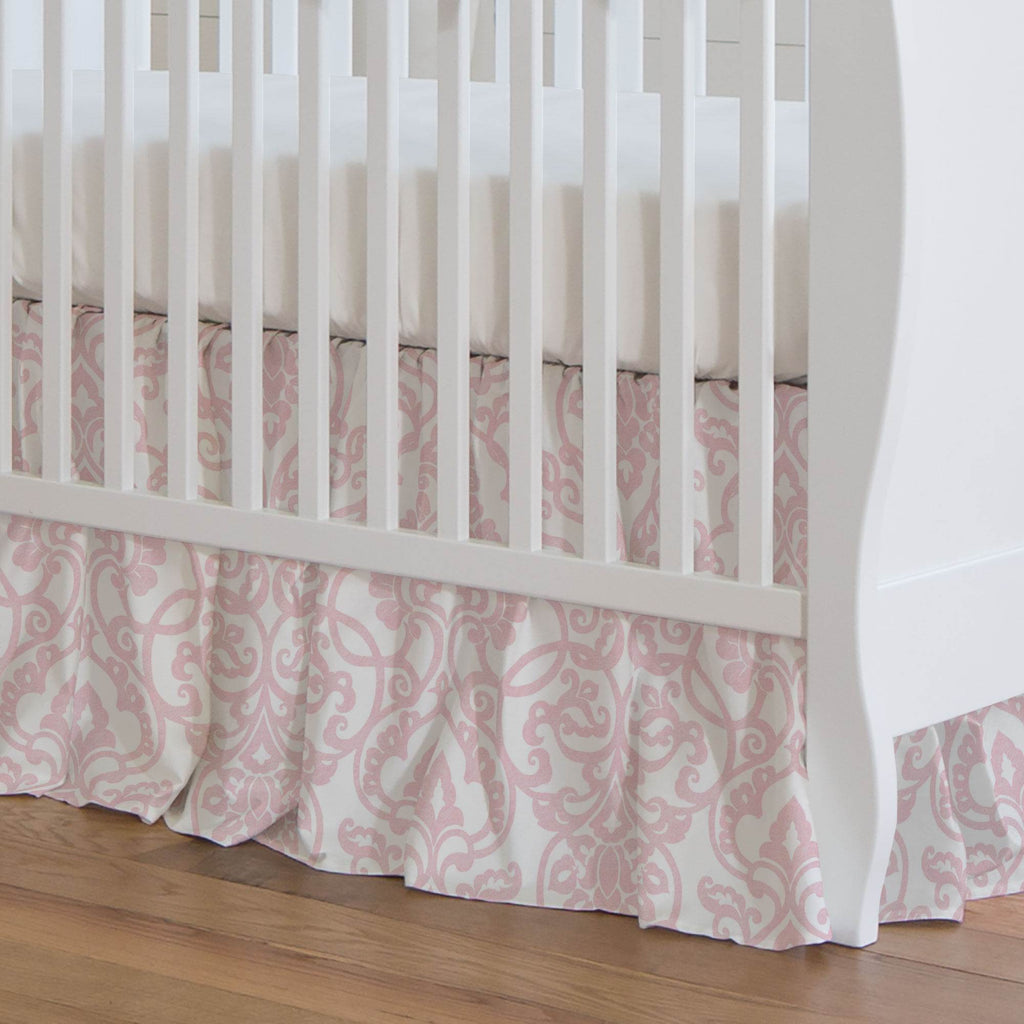 Product image for Pink Filigree Crib Skirt Gathered