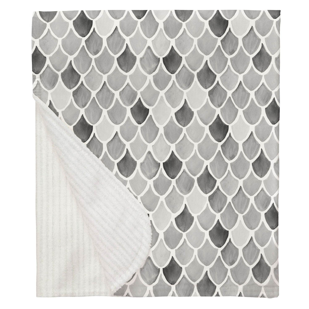 Product image for Gray Watercolor Scales Baby Blanket