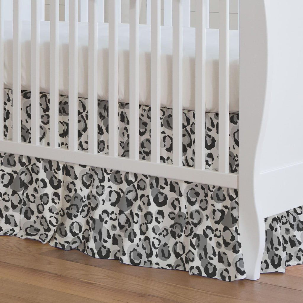 Product image for Gray Leopard Crib Skirt Gathered