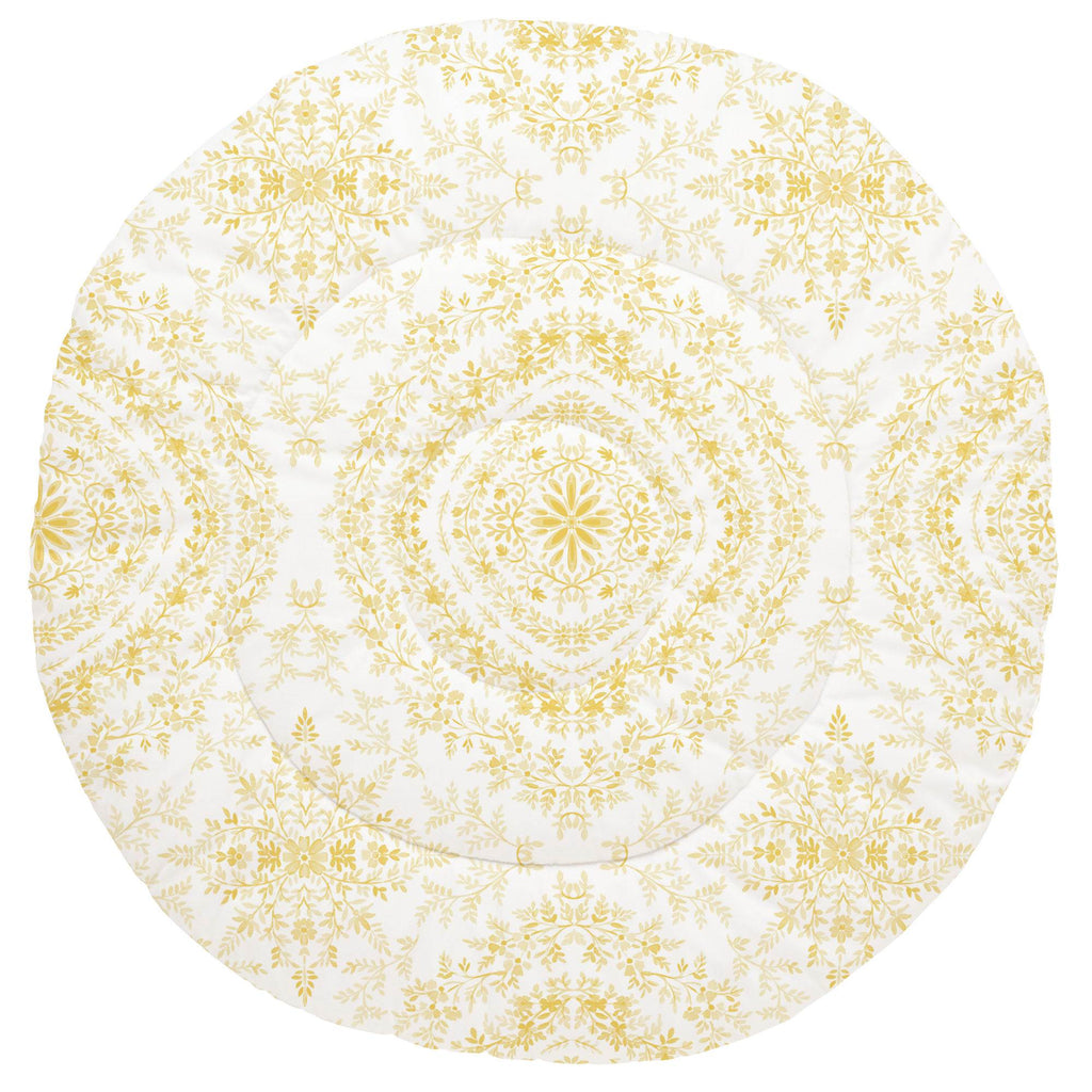 Product image for Yellow Floral Damask Baby Play Mat