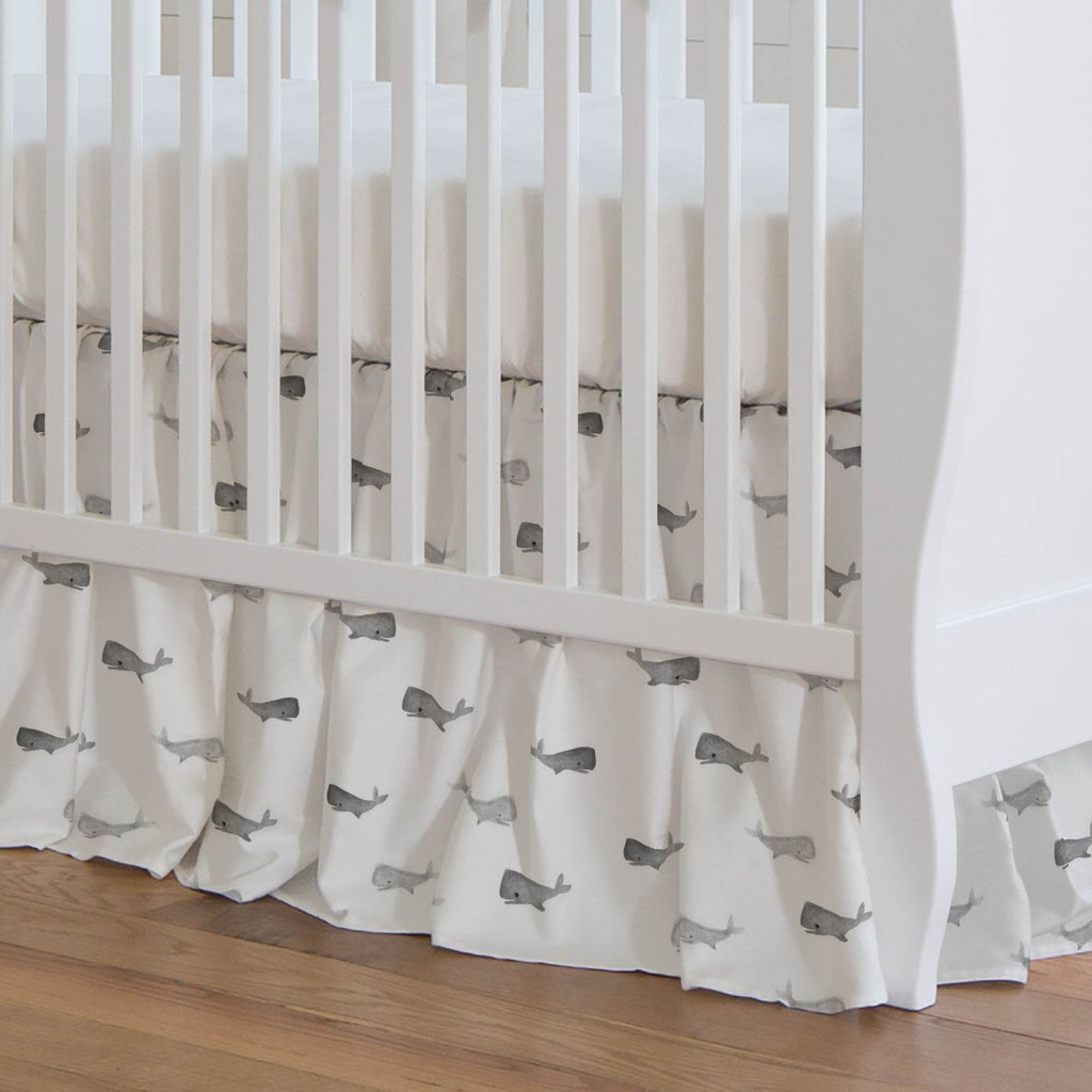 Product image for Gray Whale of a Tale Crib Skirt Gathered