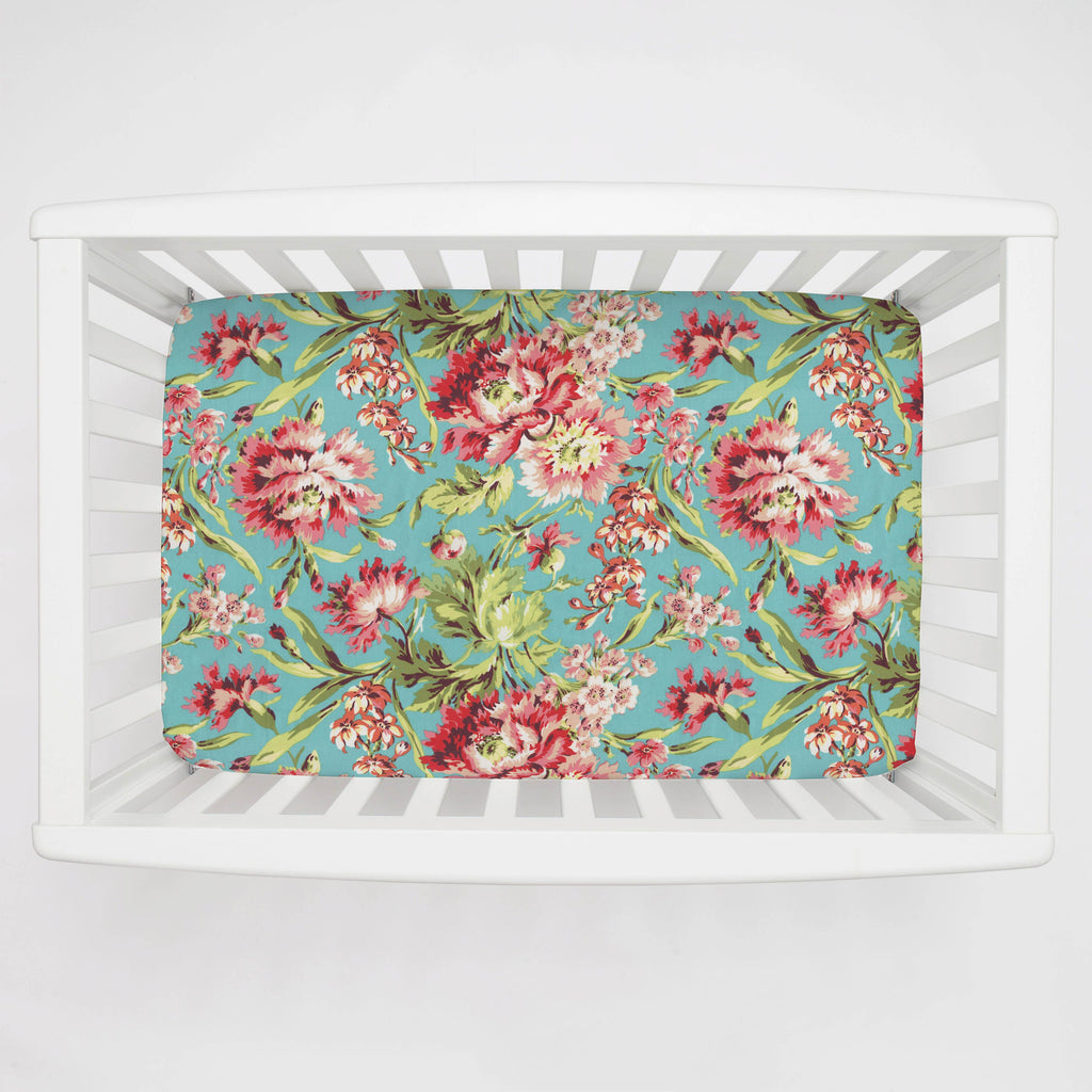 Product image for Coral and Teal Floral Mini Crib Sheet