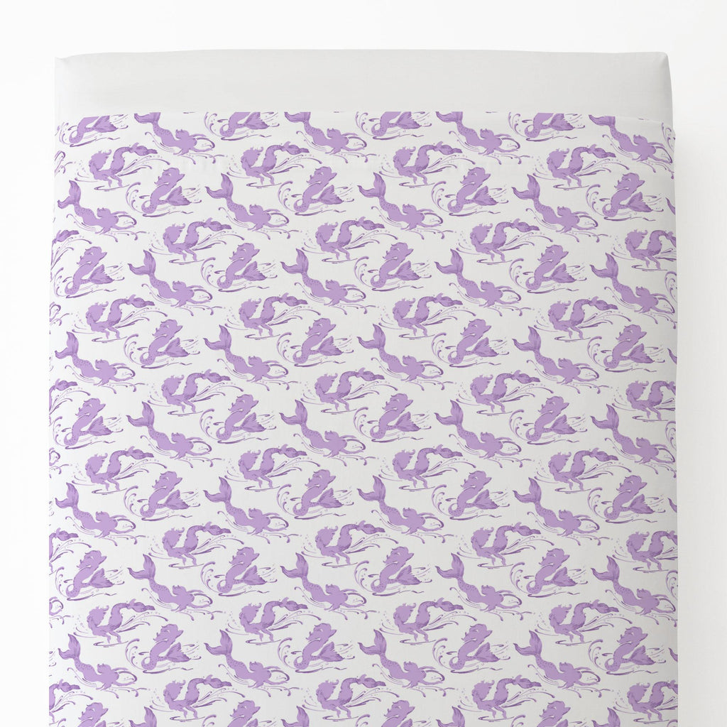 Product image for Purple Swimming Mermaids Toddler Sheet Top Flat