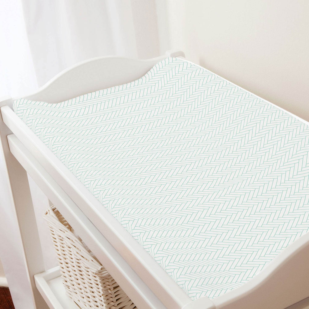 Product image for White and Mint Classic Herringbone Changing Pad Cover