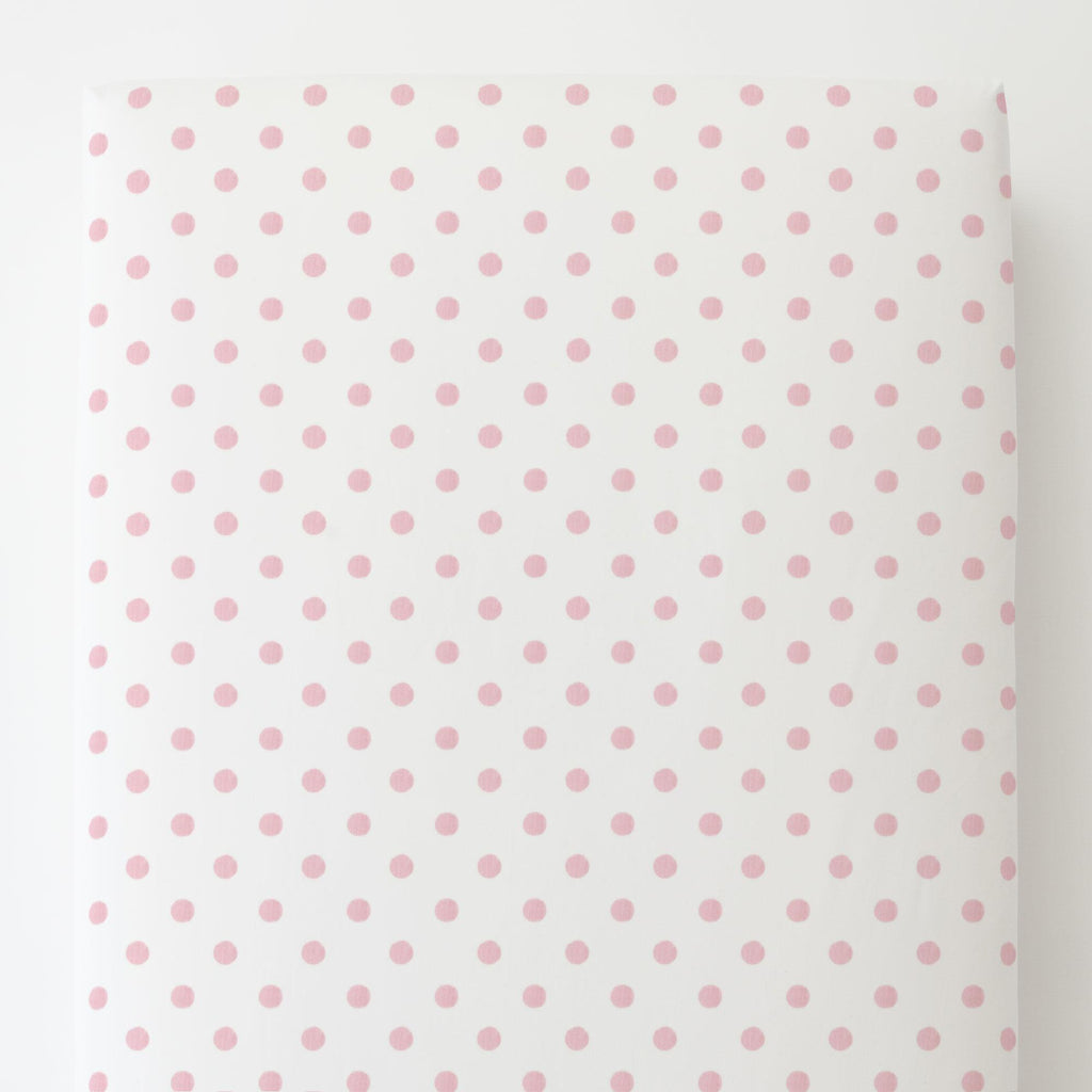 Product image for White and Pink Polka Dot Toddler Sheet Bottom Fitted