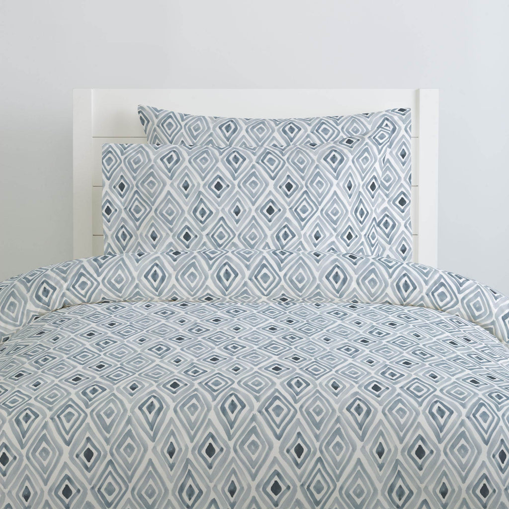 Product image for Steel Blue Painted Diamond Duvet Cover