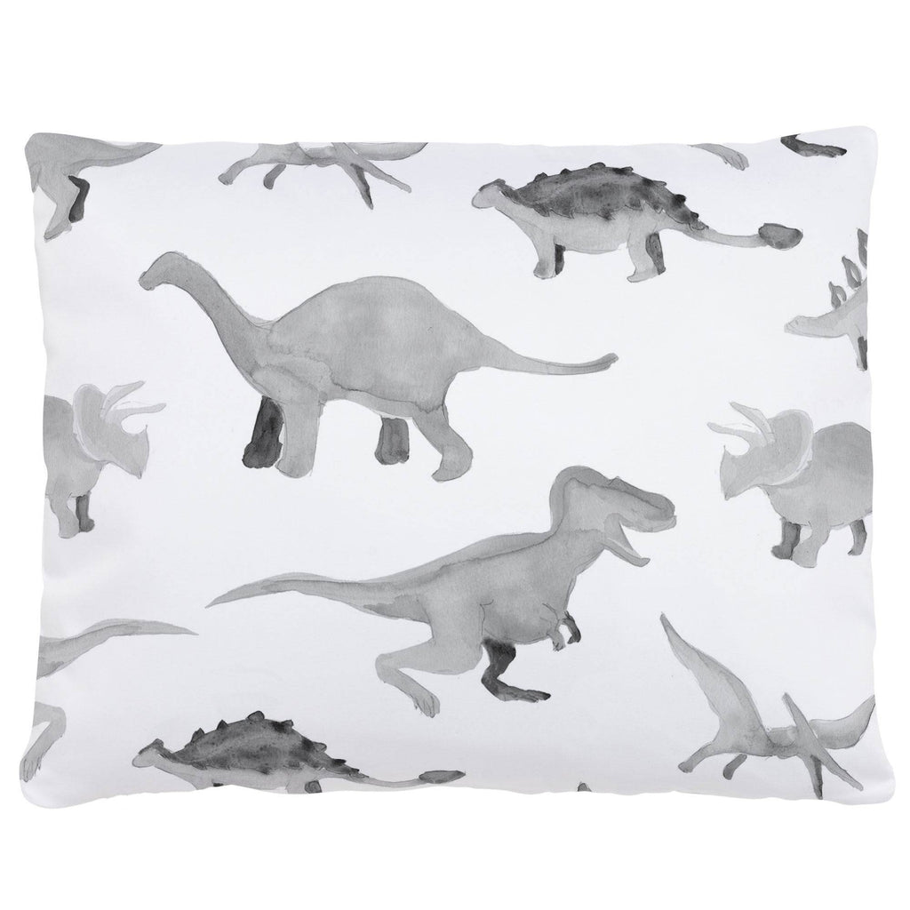 Product image for Gray Watercolor Dinosaurs Accent Pillow