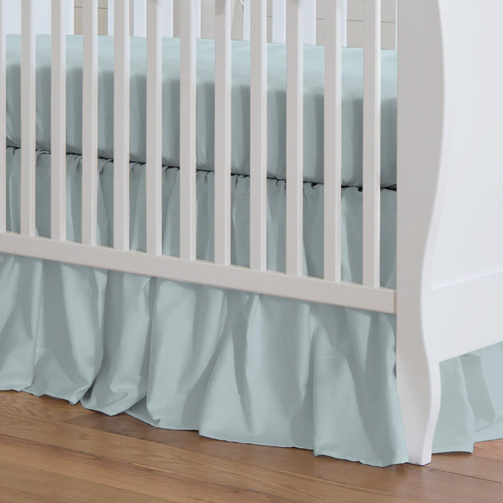 Product image for Solid Robin's Egg Blue Crib Skirt Gathered