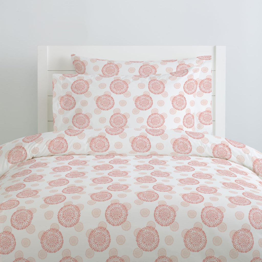 Product image for Light Coral and Peach Dandelion Duvet Cover