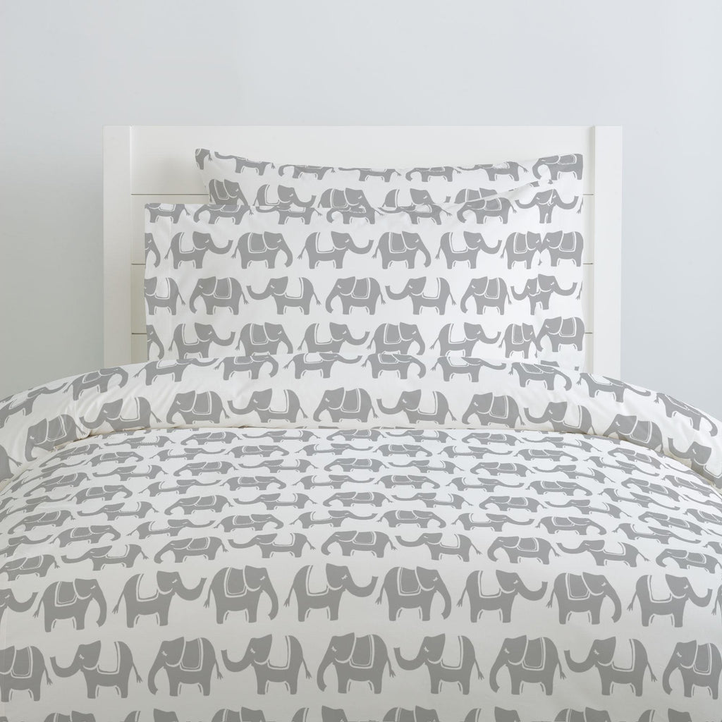 Product image for Silver Gray Marching Elephants Duvet Cover