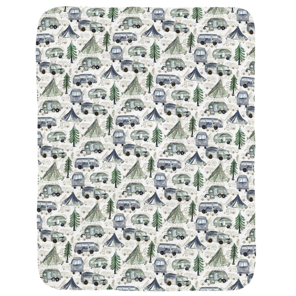 Product image for Navy and Seafoam Gone Camping Crib Comforter