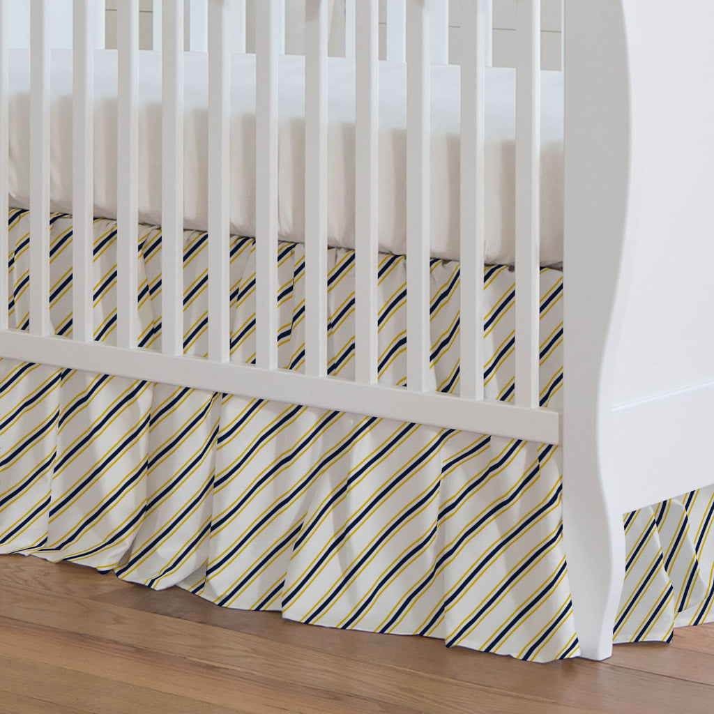 Product image for Yellow and Navy Necktie Stripe Crib Skirt Gathered