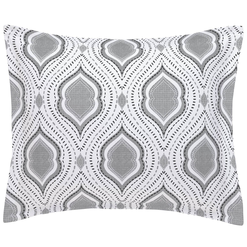 Product image for Gray Moroccan Damask Pillow Sham