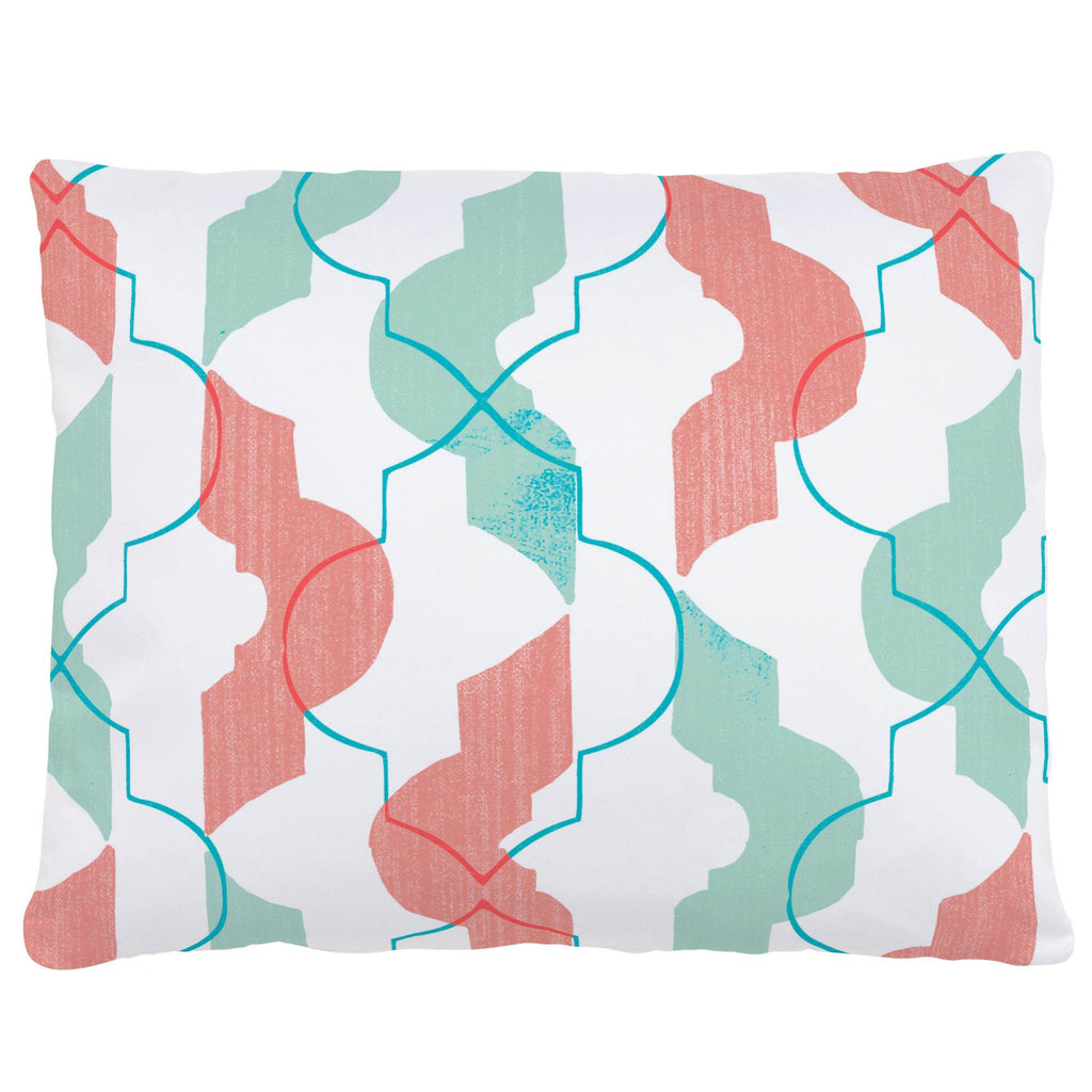 Product image for Coral and Teal Modern Quatrefoil Accent Pillow