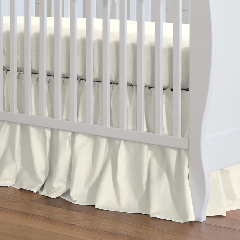Product image for Solid Ivory Crib Skirt Gathered