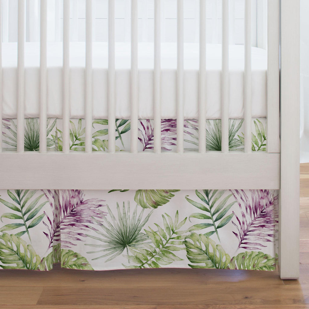 Product image for Purple Painted Tropical Crib Skirt Single-Pleat