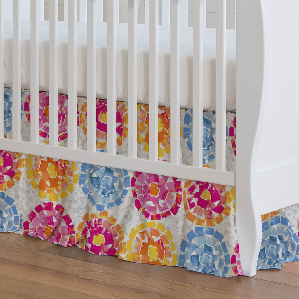 Product image for Pink and Blue Modern Mosaic Crib Skirt Gathered