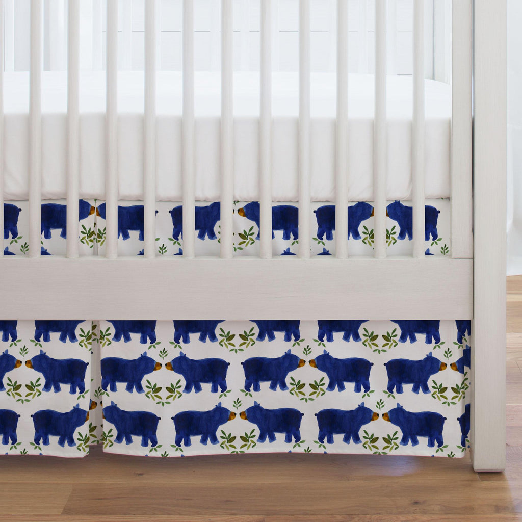 Product image for Blue Woodland Bear Crib Skirt Single-Pleat