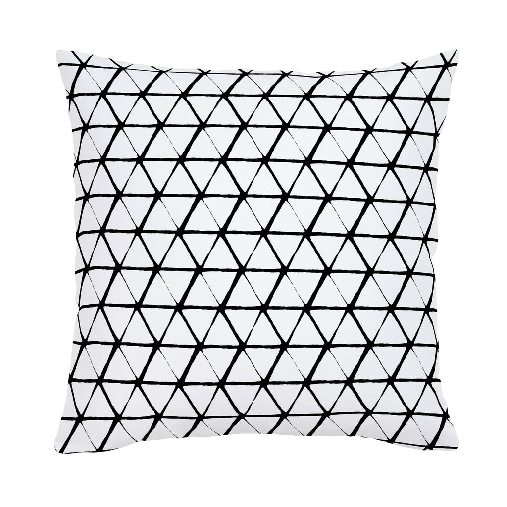 Product image for White and Onyx Aztec Triangles Throw Pillow