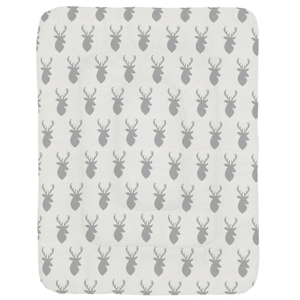 Product image for Silver Gray Deer Head Crib Comforter