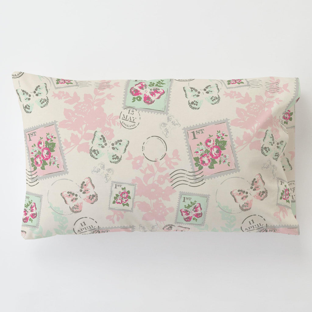 Product image for Blush and Ivory Vintage Stamp Toddler Pillow Case with Pillow Insert