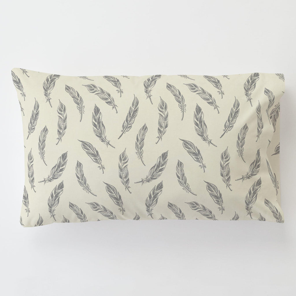 Product image for Natural Gray Feathers Toddler Pillow Case with Pillow Insert