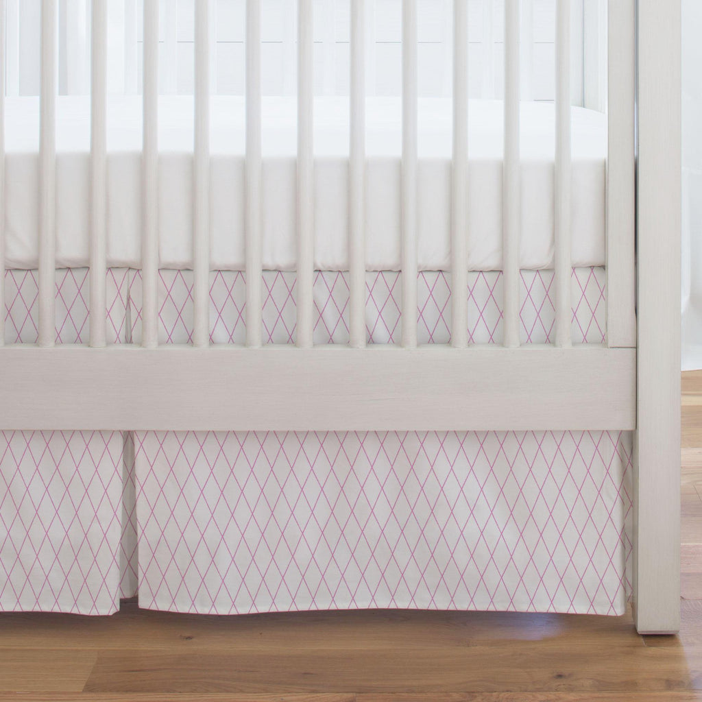 Product image for Hot Pink Princess Lattice Crib Skirt Single-Pleat