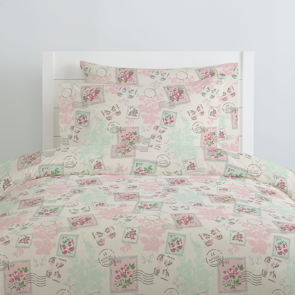 Product image for Blush and Ivory Vintage Stamp Duvet Cover