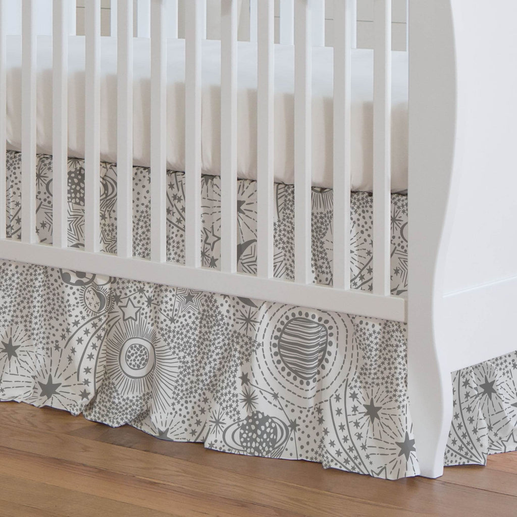 Product image for Cloud Gray Galaxy Crib Skirt Gathered