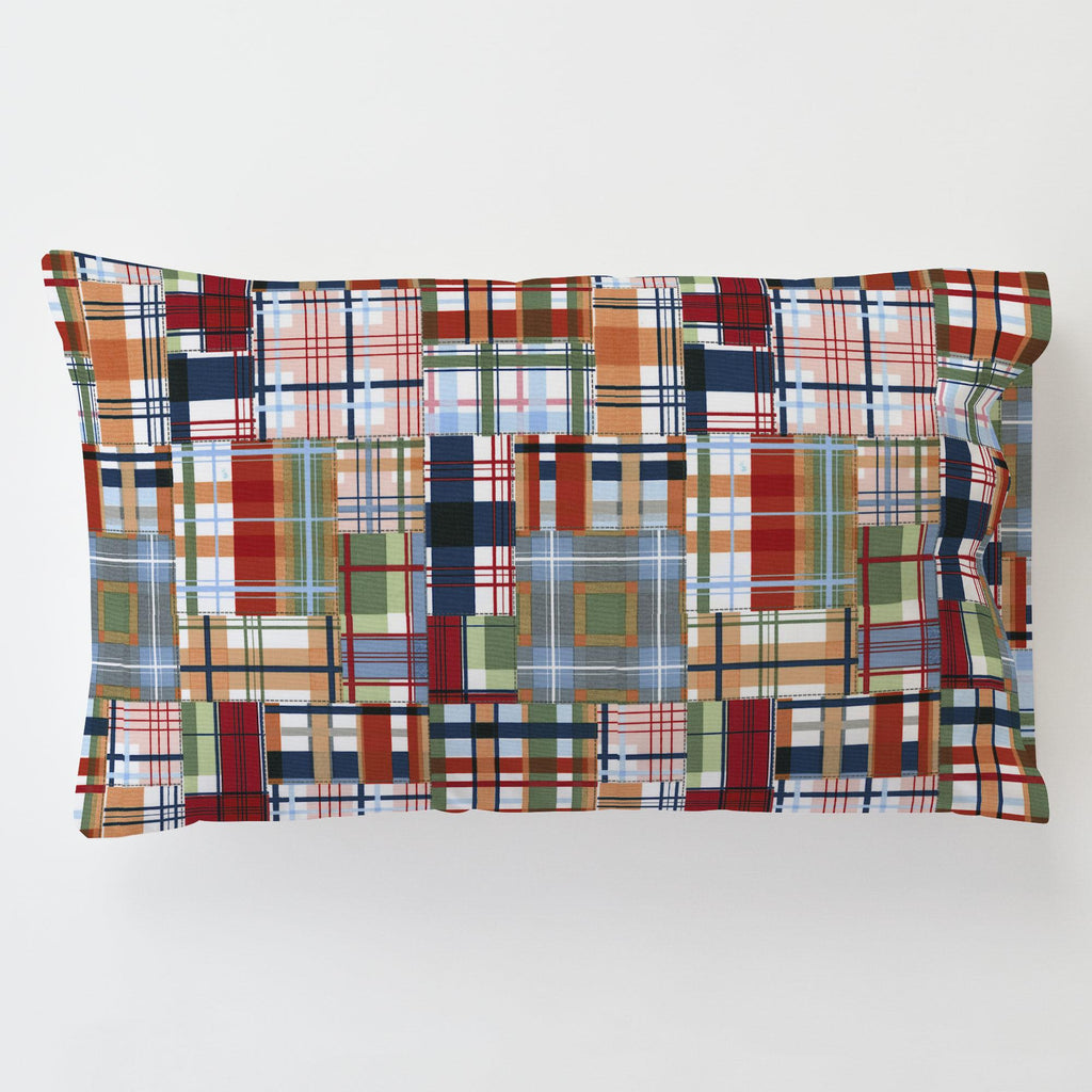 Product image for Patchwork Plaid Toddler Pillow Case with Pillow Insert