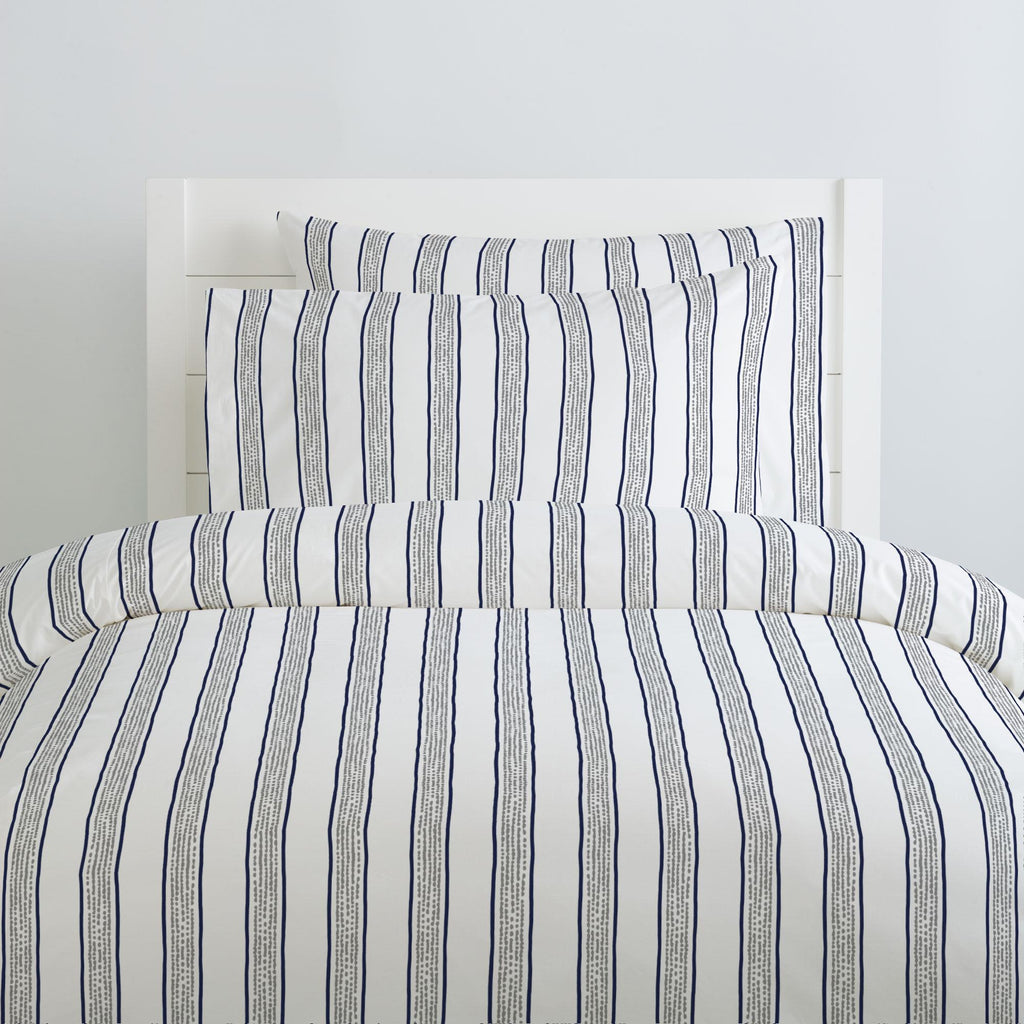 Product image for Navy and Gray Beach Stripe Duvet Cover