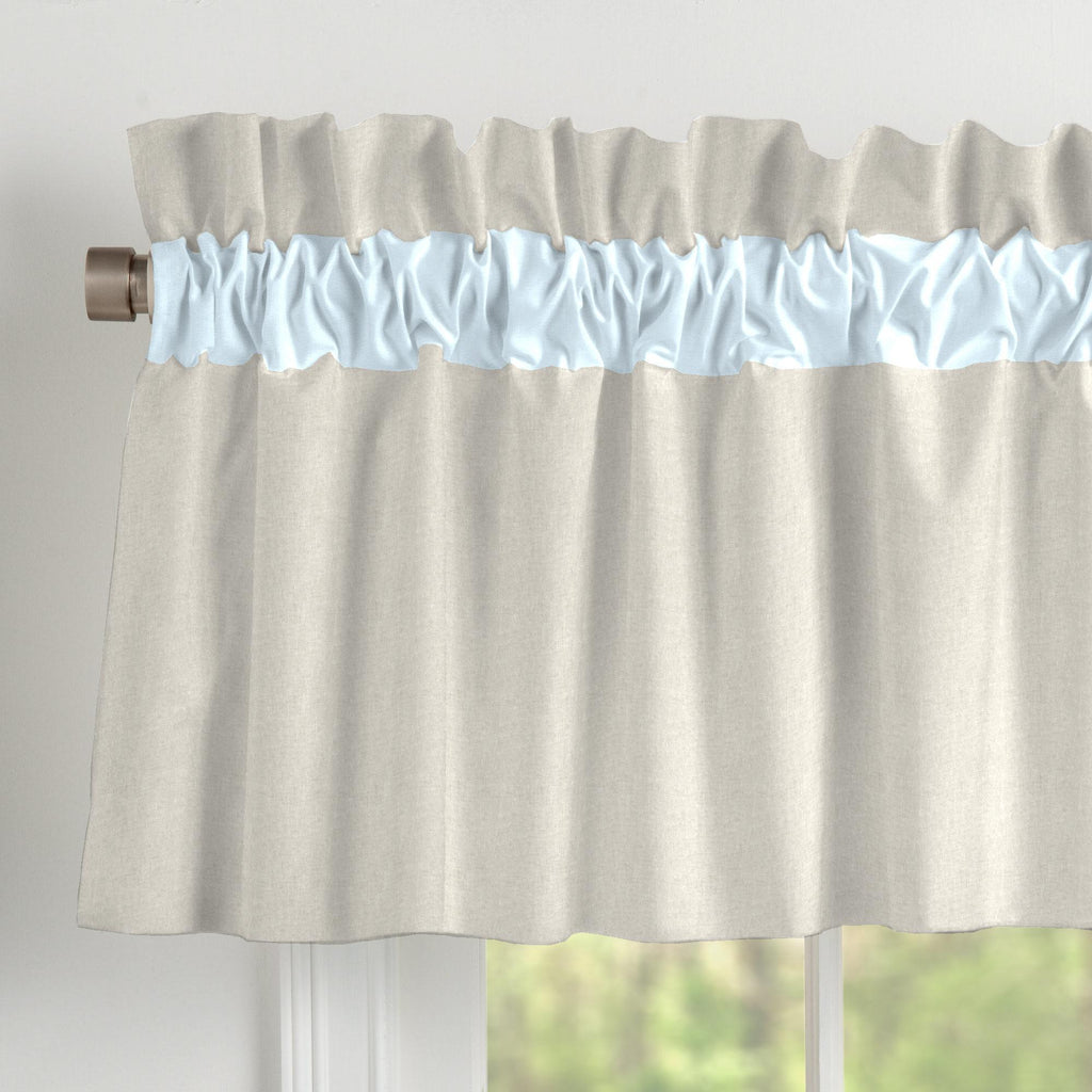 Product image for Light Blue and Flax Linen Window Valance