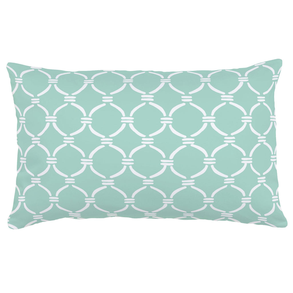 Product image for Mint and White Lattice Circles Lumbar Pillow