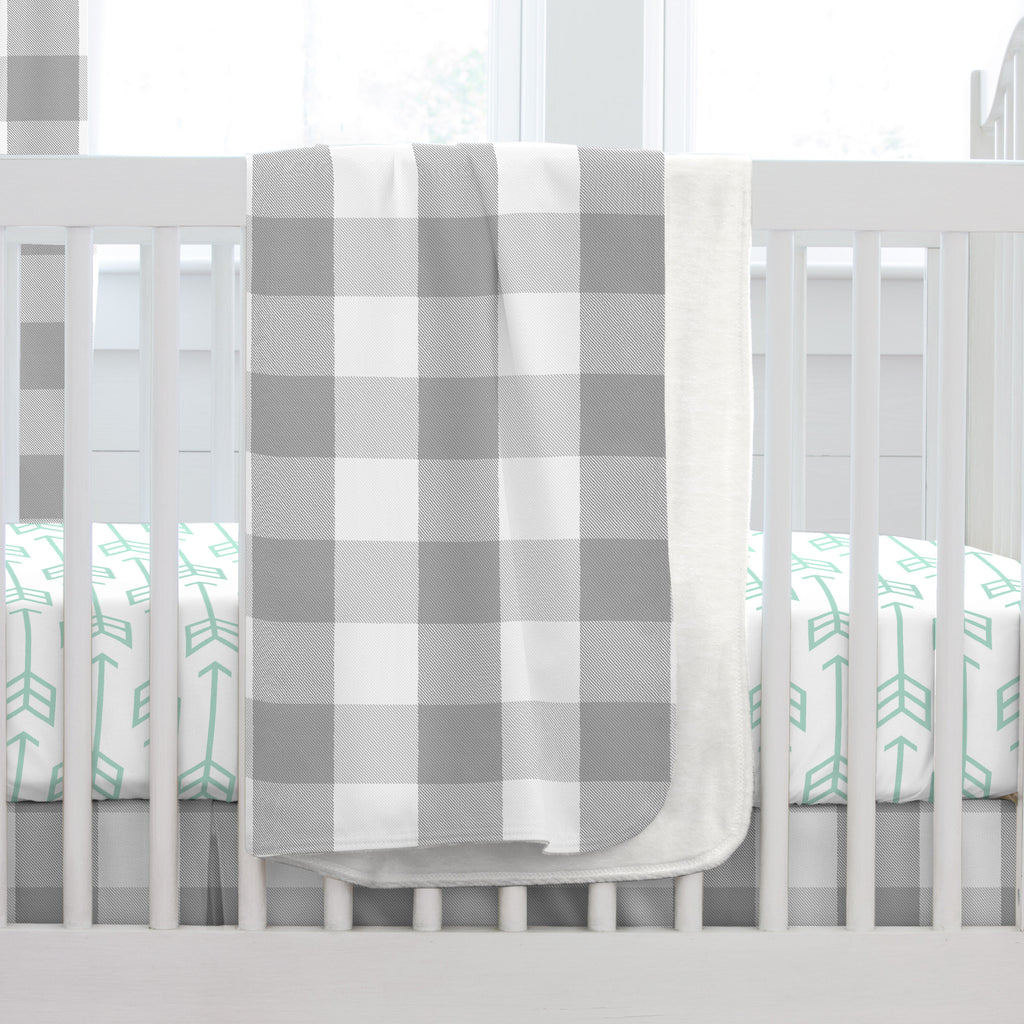 Product image for Gray Buffalo Check Baby Blanket
