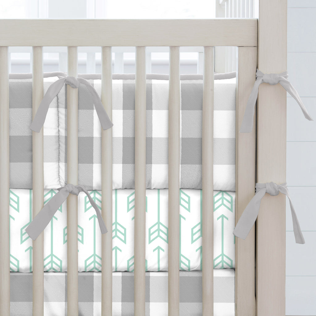 Product image for Gray Buffalo Check Crib Bumper