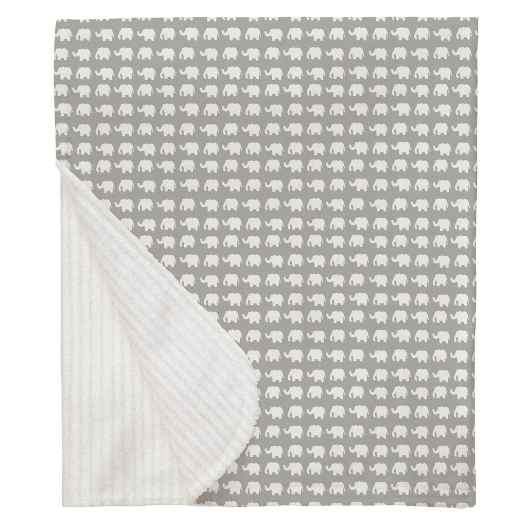 Product image for Gray and White Elephant Parade Baby Blanket