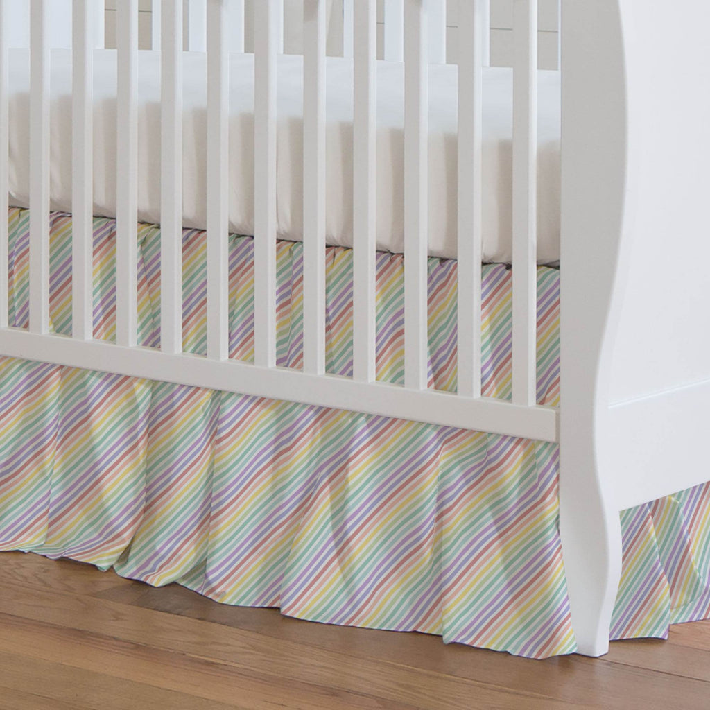 Product image for Pastel Rainbow Stripe Crib Skirt Gathered