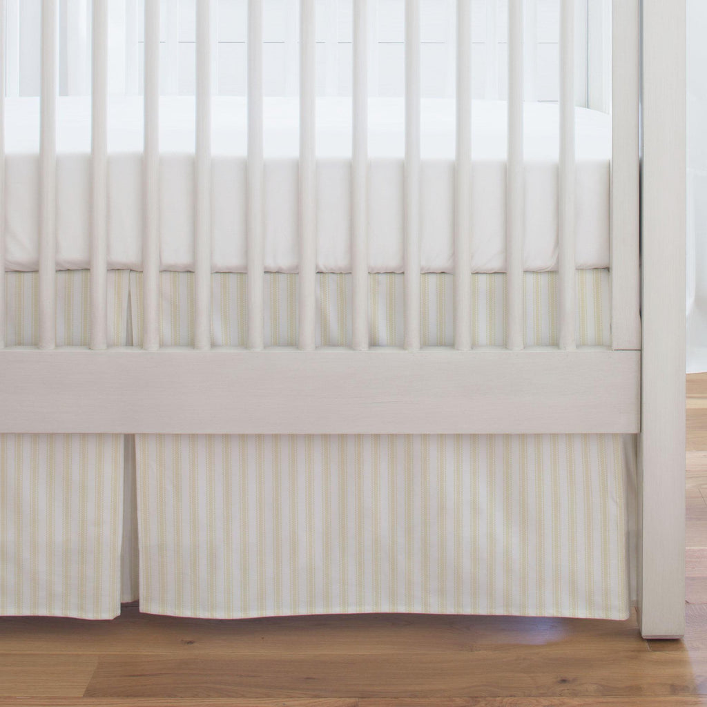 Product image for Pale Yellow Ticking Stripe Crib Skirt Single-Pleat