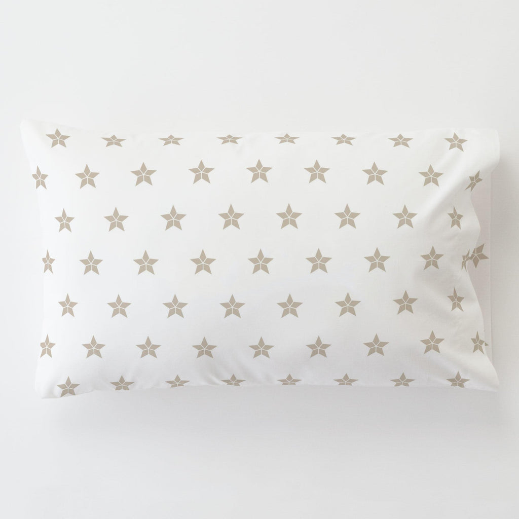 Product image for Taupe Mosaic Stars Toddler Pillow Case with Pillow Insert
