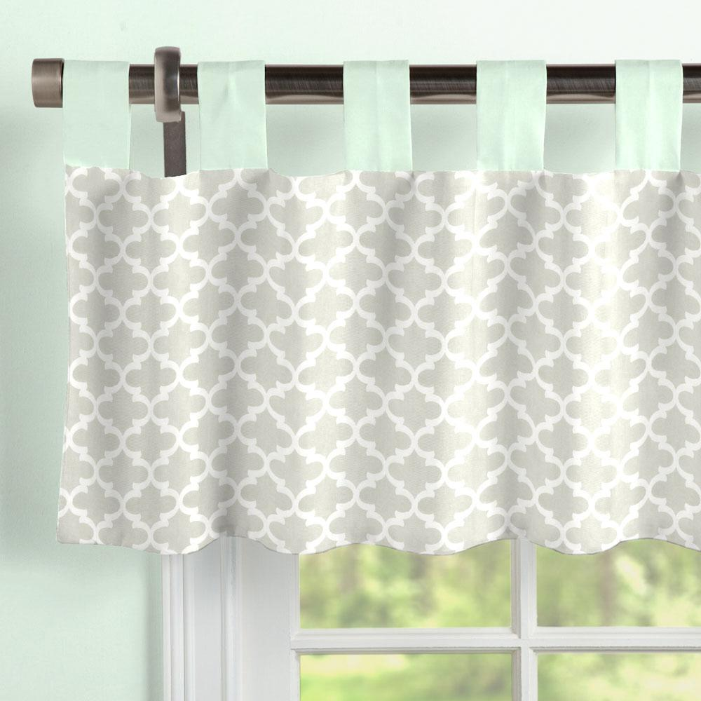 Product image for French Gray Quatrefoil Window Valance Tab-Top