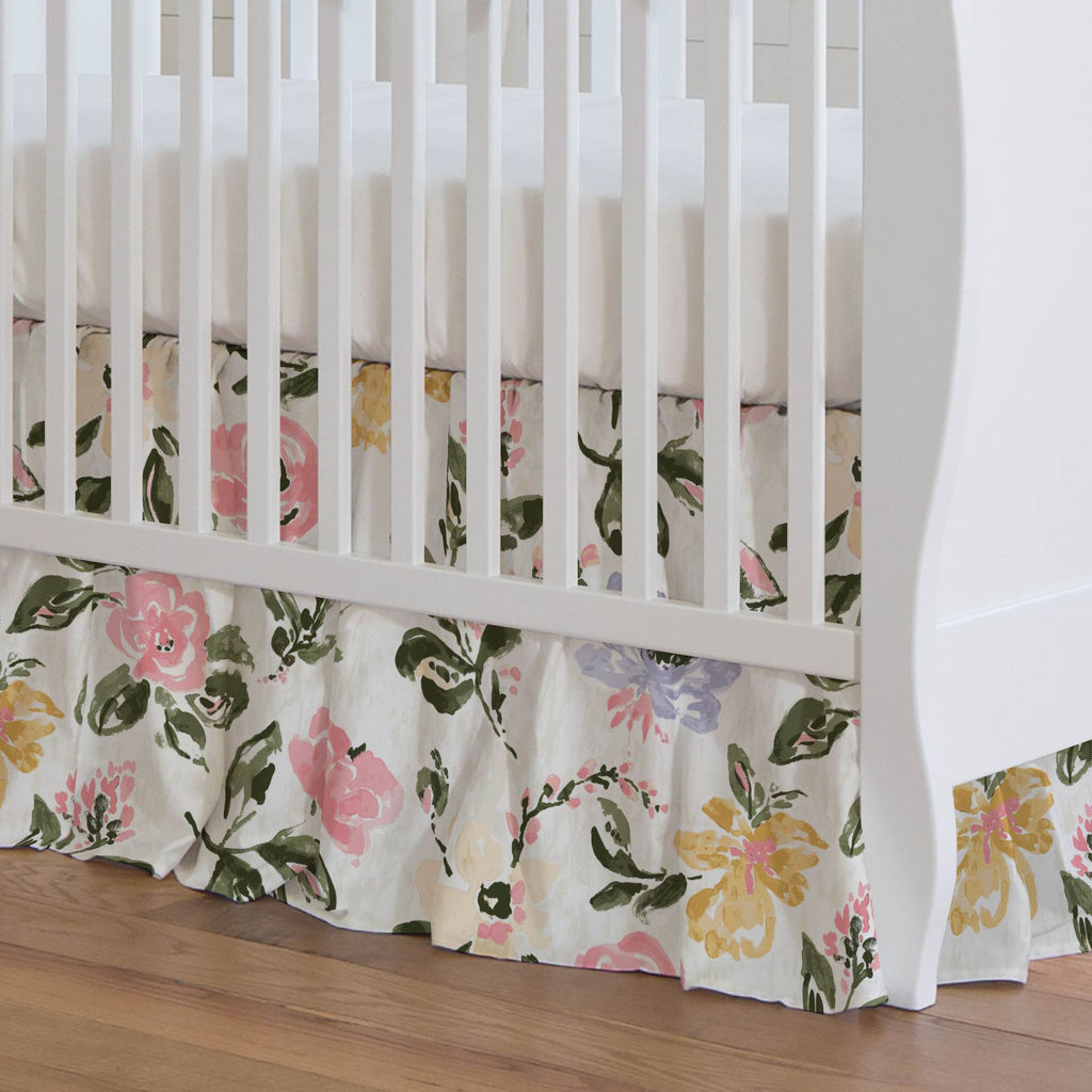 Product image for Coral Pink Garden Crib Skirt Gathered