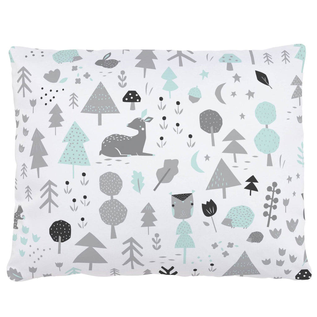 Product image for Icy Mint and Silver Gray Baby Woodland Accent Pillow