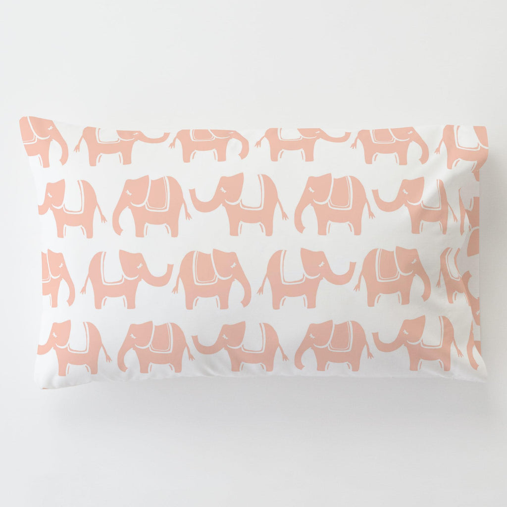 Product image for Peach Marching Elephants Toddler Pillow Case with Pillow Insert